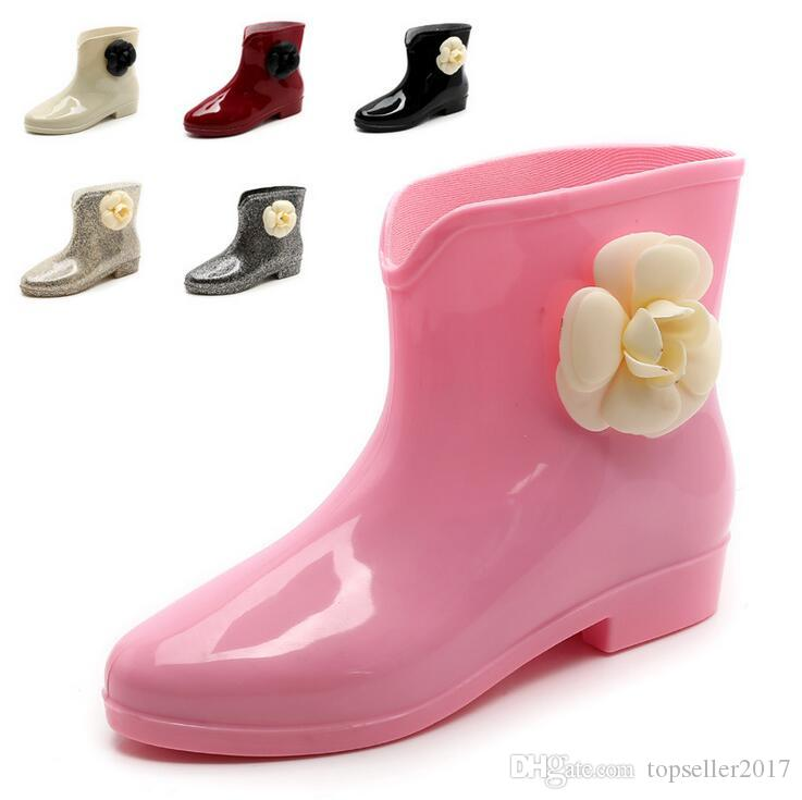 12 COULEURS Doux Nouvelle Arrivée Bottes De Pluie Étanche Avec Des Chaussures Femme Chaussures De Pluie Eau Bottes En Caoutchouc Cheville