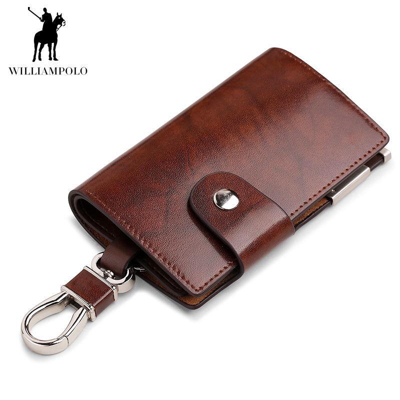 bc594c7e36b02 Men s Car Keys Wallets Genuine Cowhide Leather Male Key Holder Organizer  Housekeeper Keychain Purse Key Ring Bag Keys Case