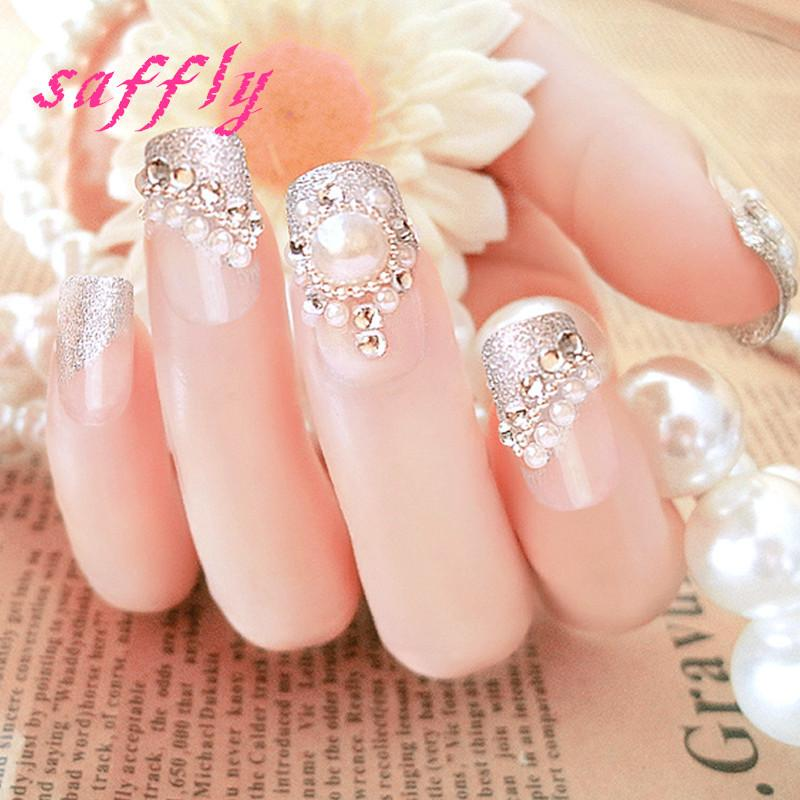 Saffly 2017 Nail Art 3d False Nails Rhinestone Fake Nail Pearl