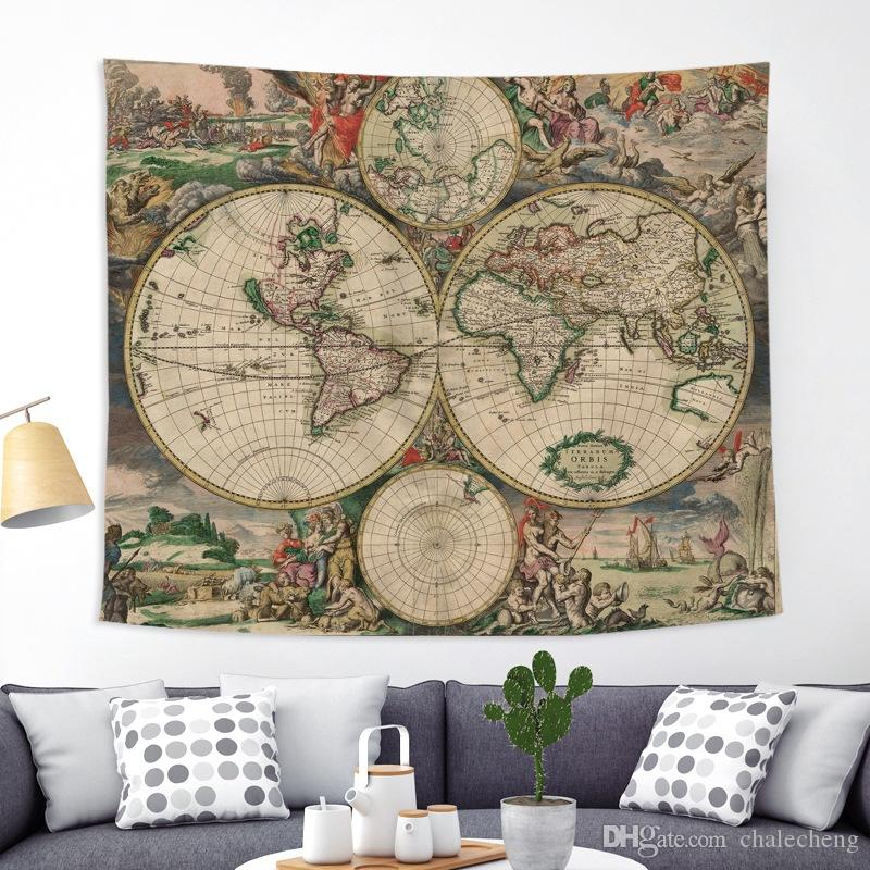 200X150cm World Map Scenery Printed Polyester Wall Hanging Tapestry