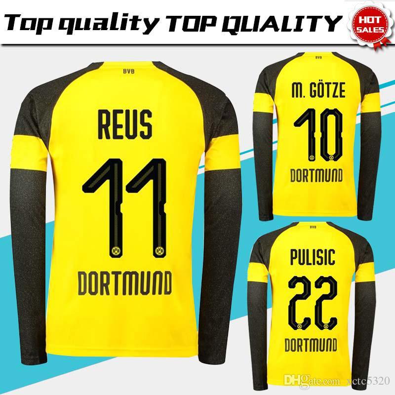 12b0c0fec 2019 Dortmund Long Sleeve Home Soccer Jerseys 18/19 #11 REUS Home Yellow Soccer  Shirt 2019 Customized #22 PULISIC #10 M.GOTZE Football Uniform From  Xctc5320 ...