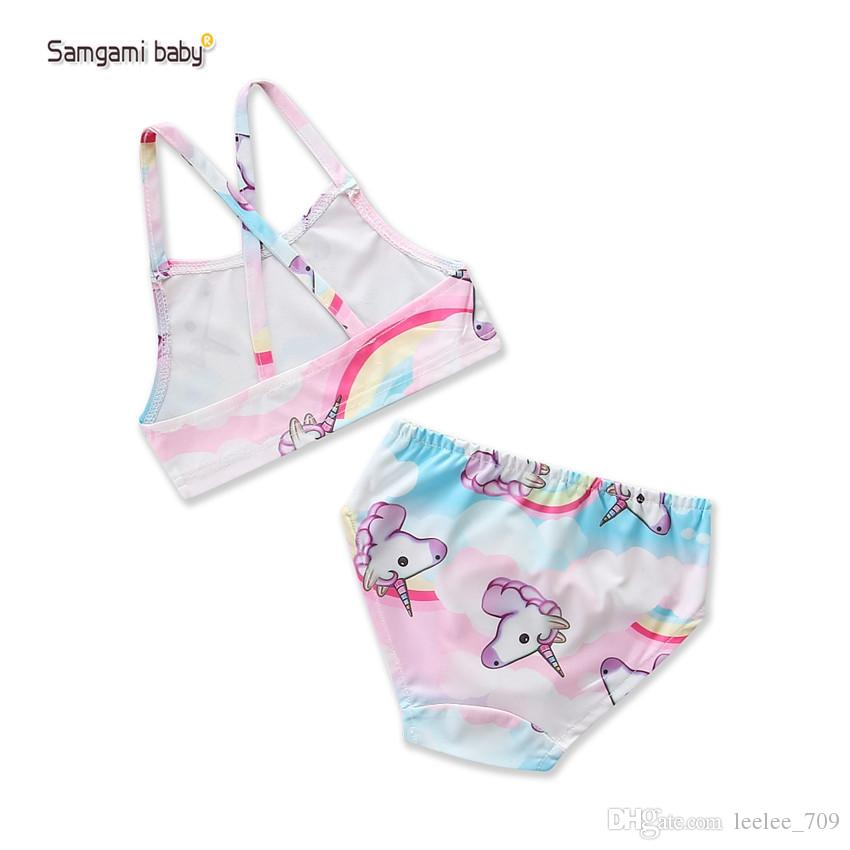 Baby girls unicorn Swimwear outfits children print top+shorts cartoon Swimsuit new Bikinis Boutique Kids Two-Pieces B11
