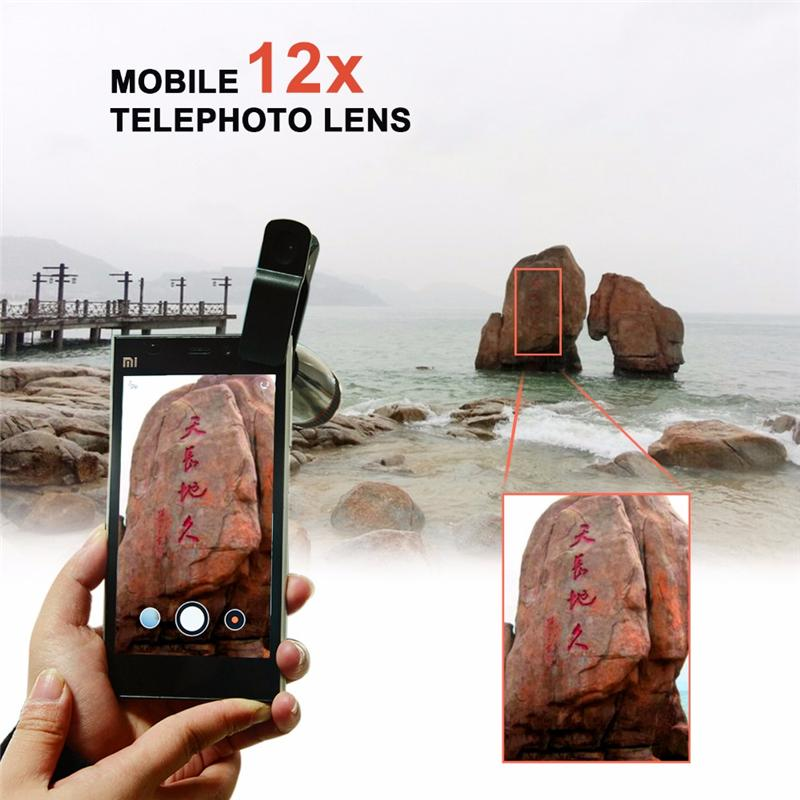 New Arrival 12X Zoom Telescope For iPhone Android Mobile Phone Telephoto Phone Camera Lens Clip on Observing Camping Universal