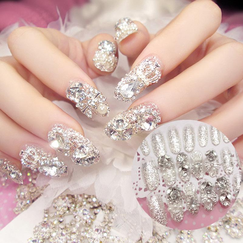 Luxe Shining Rhinestone Wedding False Nails Transparent Glitter Gems Crown  Designed Square Full Short Fake Nails Bride Canada 2019 From Nomakeup a7f09173e814