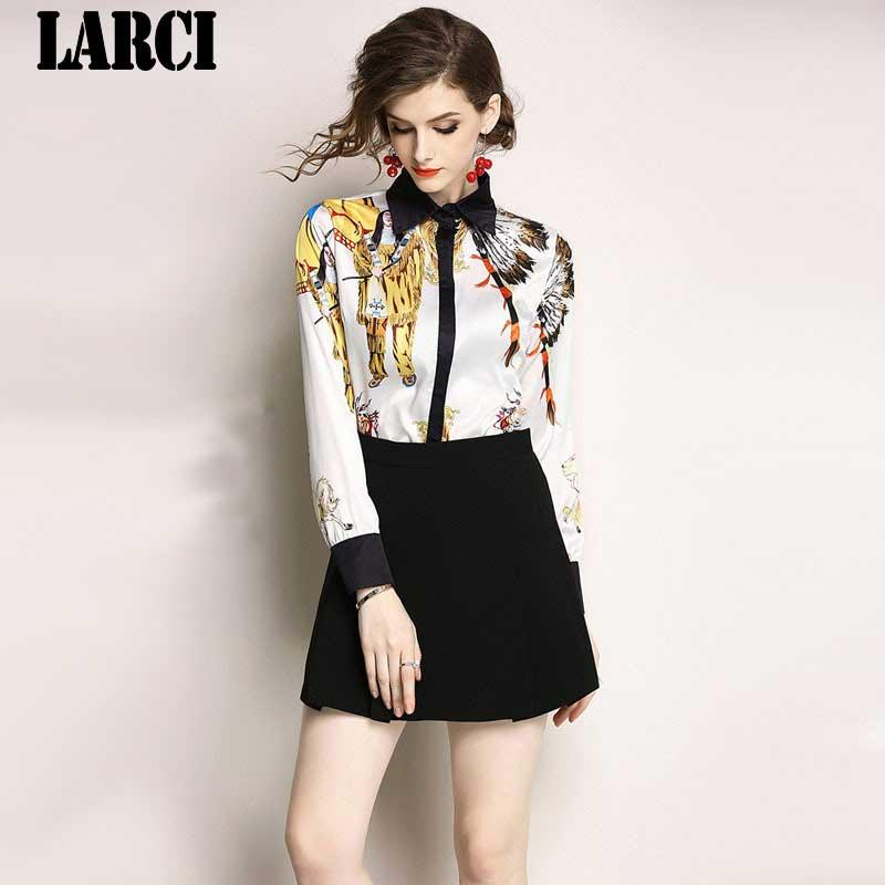 f54bf35570d LARCI Office Lady 2018 Women Long Sleeve Shirt Blusas Vestidos Print  Character Turn Down Collar Plus Size Blouse Tops N7125 Blouses   Shirts  Cheap Blouses ...