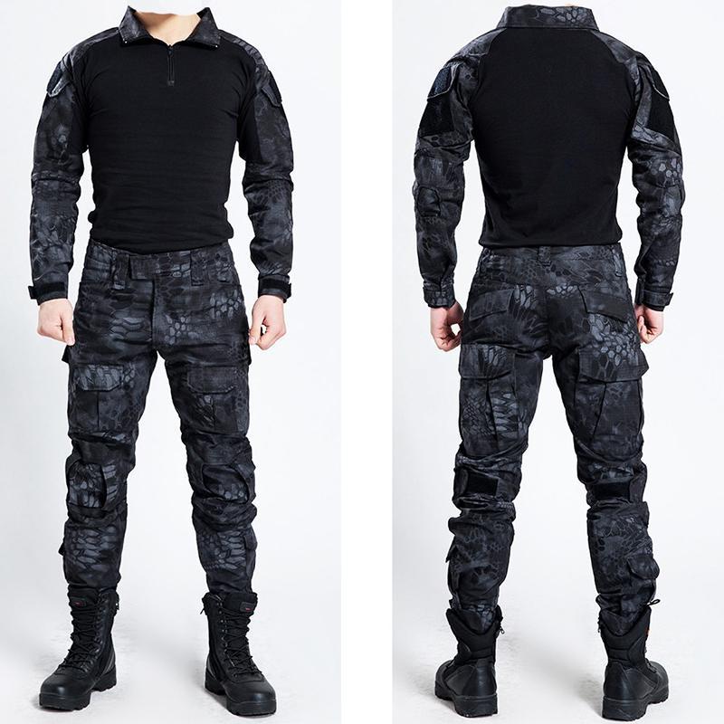 901ae3d9665e07 Taktische Bdu Uniform Kleidung Armee Tactical Shirt Jacke Hosen Mit Gürtel  Camouflage Jagd Kleidung Kryptek Schwarz