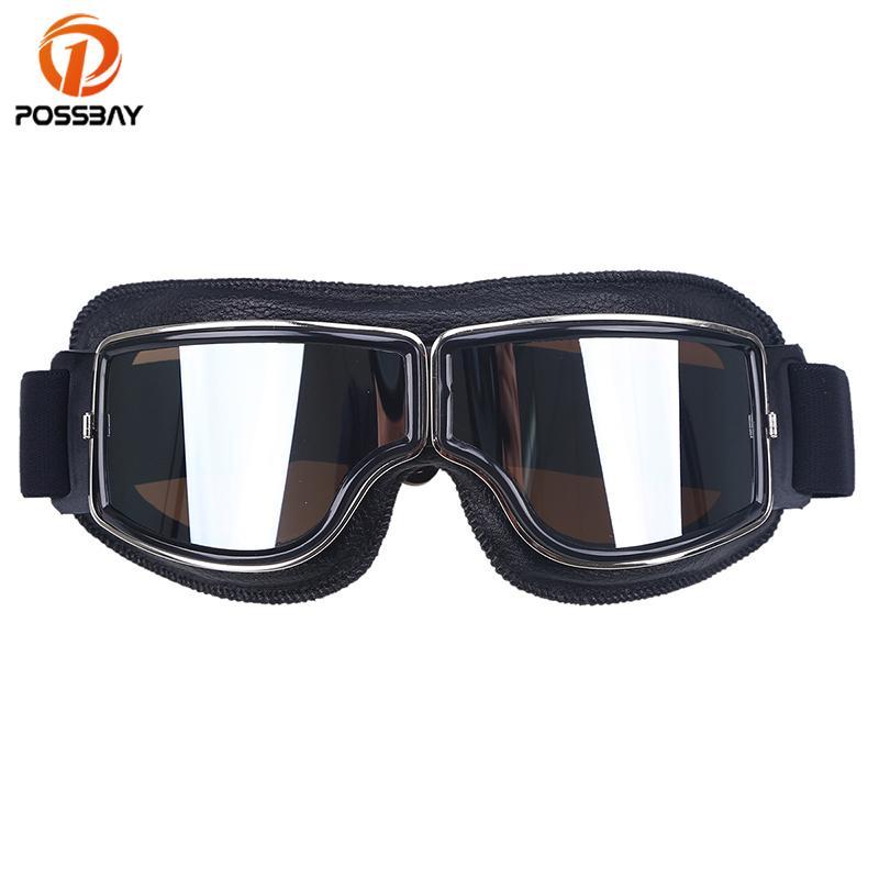 Compre POSSBAY Retro Motocicleta Óculos De Aviador Piloto De Motocross  Capacete De Couro Óculos De Esqui Óculos Para Piloto De Café Moto Óculos De  Proteção ... ad228f26db
