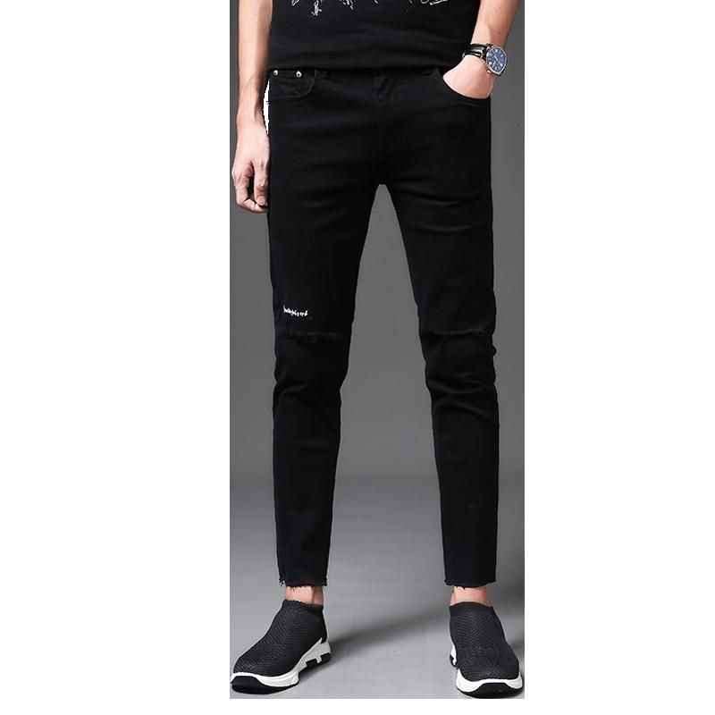 5e98fe6ed3a3 Fall new men's casual pants trend black slim pants. Young man casual feet nine  minute trousers