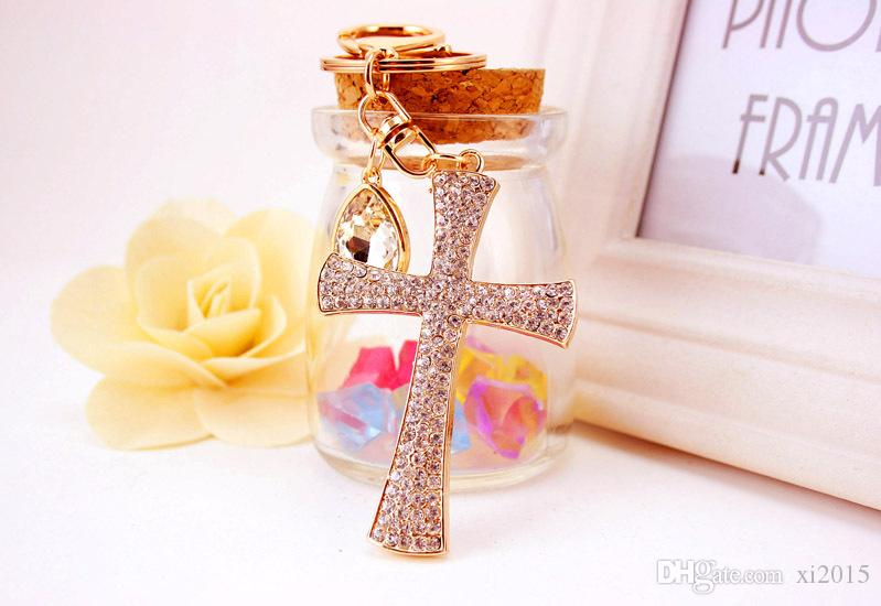 rhinestone cross keychain purse pendant baby showers baptism christening party favors and giveaway gifts wen5788