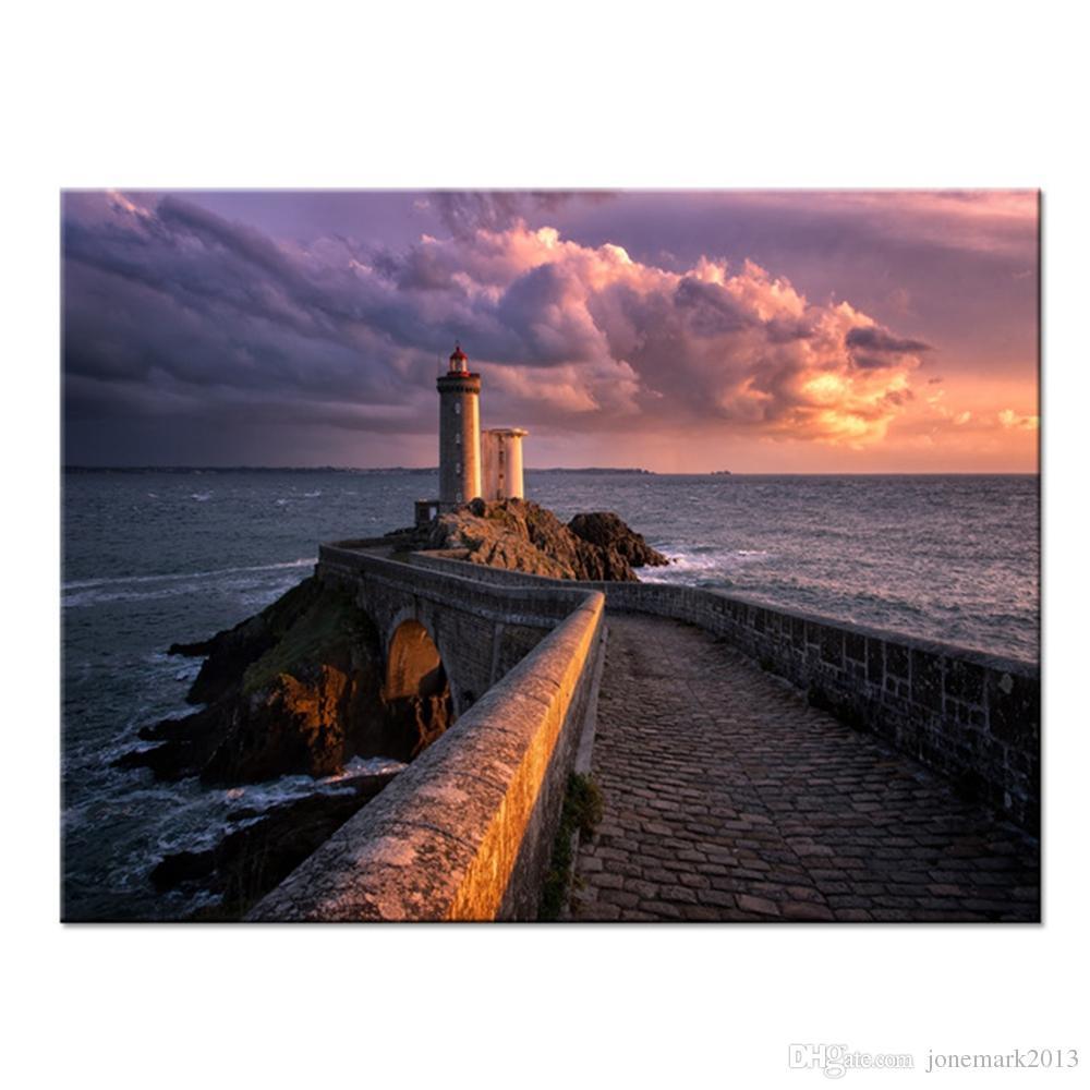 HD Imprime Fotos Home Decor Poster Quadro 1 Peça / Pcs Farol Vista Para o Mar Ondas Pinturas Da Lona Para Sala de estar Arte Da Parede