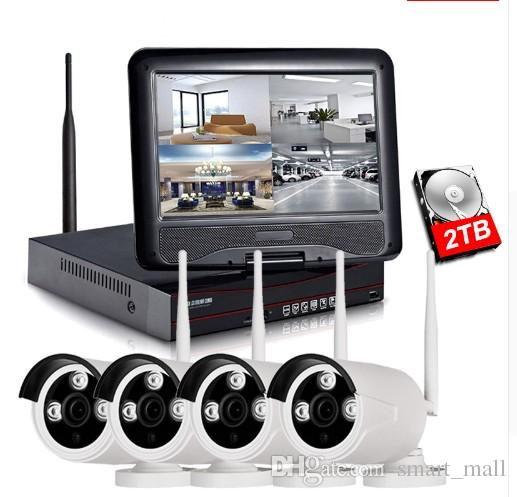 1080P Wireless NVR Kit 10 inch LCD Monitor 2MP Wifi IP Camera 4PCS P2P CCTV Camera Video Home Security System Surveillance Set LLFA