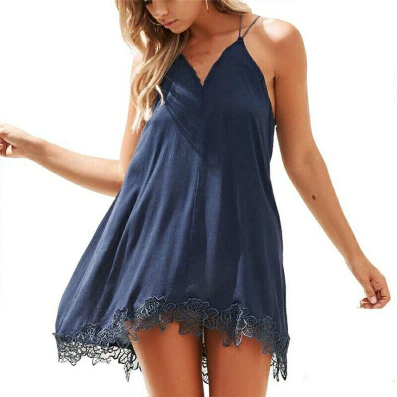 3ad027ad82 Plus Size 2019 Lace Chiffon Dress Women Boho Beach Summer Sundress Sexy  Girl Backless Spaghetti Strap Mini Dresses