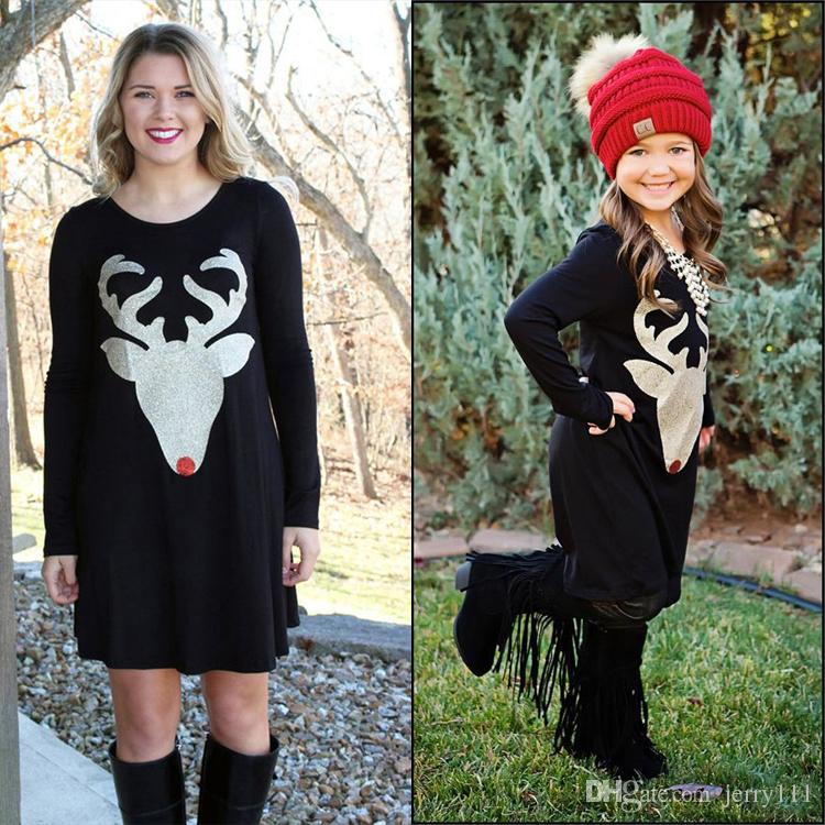 Mother And Daughter Clothes Davidu0027S Deer Printed Dresses Womens Black Long Sleeved Dress Parent Child Matching Outfit Kids Clothing La670 2 Matching Mom And ...  sc 1 st  DHgate.com & Mother And Daughter Clothes Davidu0027S Deer Printed Dresses Womens ...