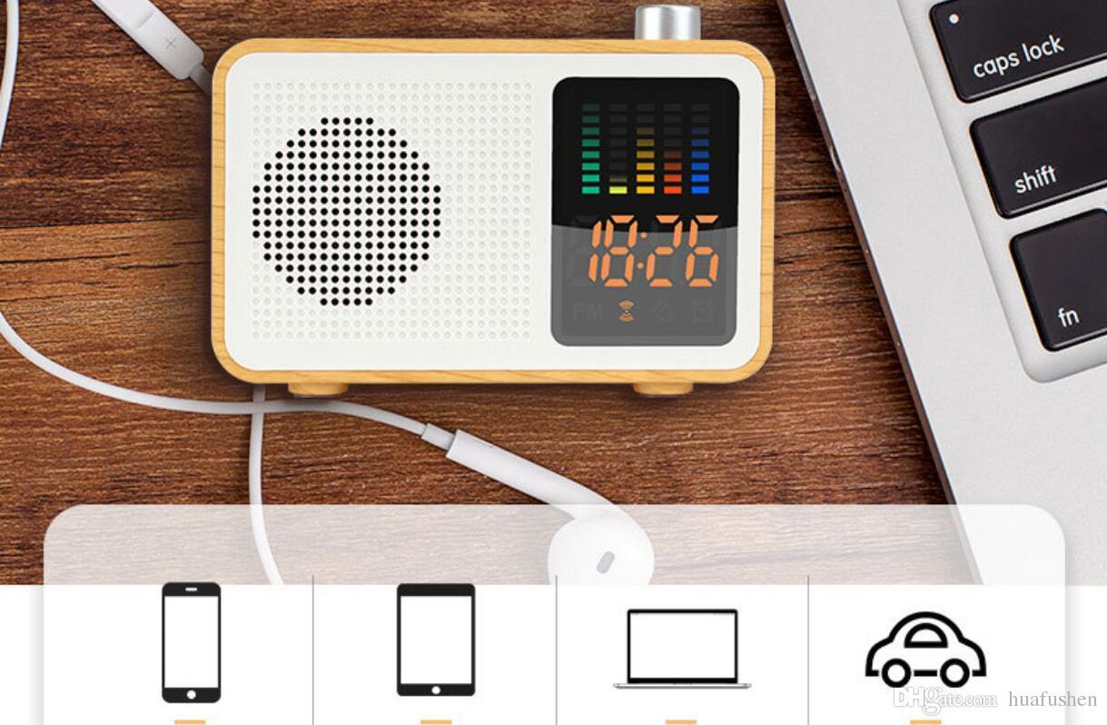 FM Radyo Fonksiyonu ile Taşınabilir Bluetooth Hoparlör Çalar Saat Zaman Ekranı