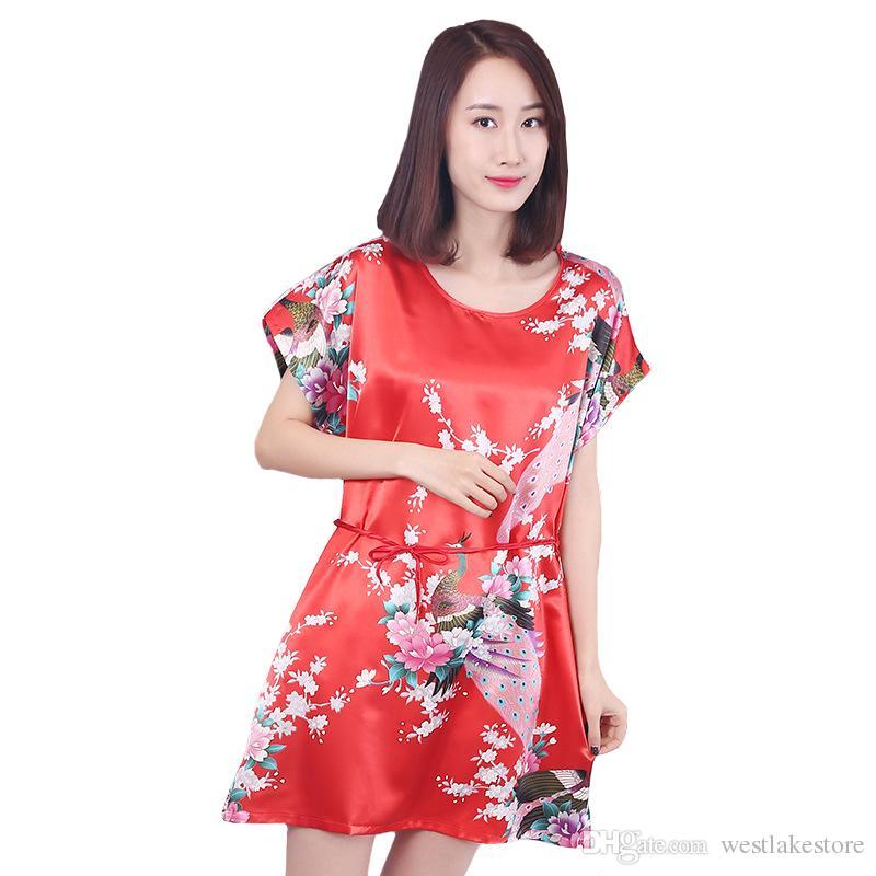 Купить Оптом Summer New Women Nightgown Loose Red Night Dress Sexy Rayon  Sleep Shirt Павлиньи Пижамы Lady Home Одежда Короткие Ночные Платья  Отwestlakestore ... d7de7d055dacc
