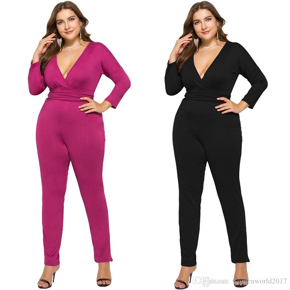 7ecb868f2757 2019 Plus Size Casual Bodycon Jumpsuit Long Sleeve Autumn Overalls Black  Rose Sexy V Neck One Piece Rompers Womens Jumpsuit From Womenworld2017, ...