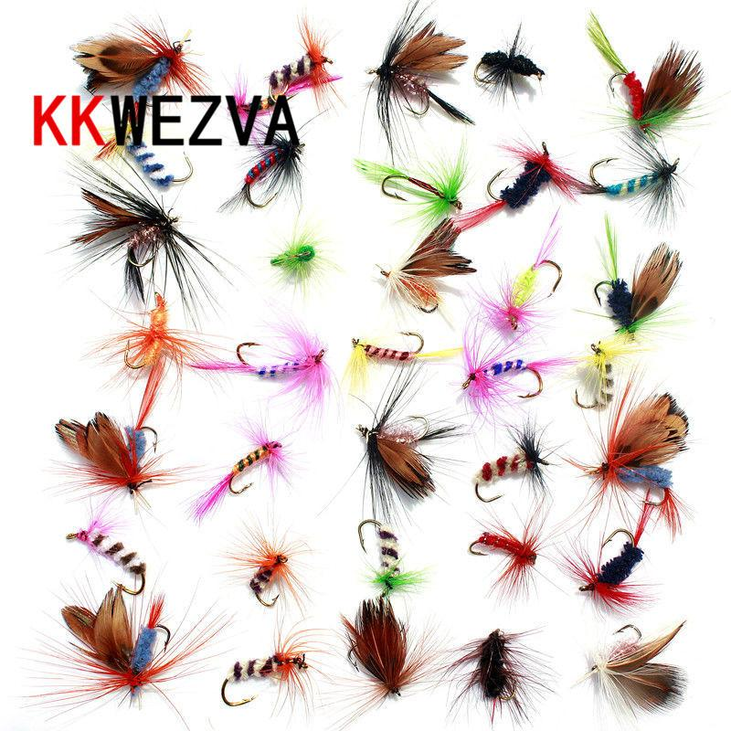 KKWEZVA 36pcs Fishing Lure Butter fly Insects different Style Salmon Flies Trout Single Dry Fly Fishing Lures Fishing Tackle Y1890402