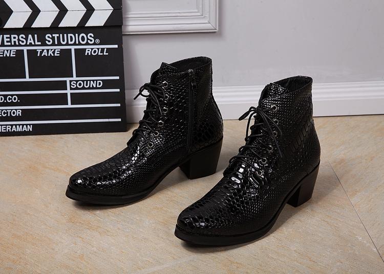Compre Zapatos Para Hombre De Tacón Alto Negro Piel De Pitón Botas De  Vaquero Para Hombre Botines Chelsea Bota Masculina Con Cordones Zapatos De  Invierno ... 08ebe902ce1
