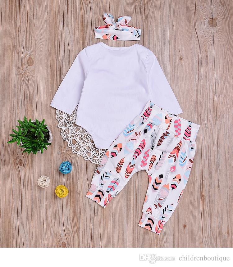 2018 Spring Baby Girl Clothes Set Full Sleeve O-neck Printed Baby Romper Pants Headband Outfits Infant Toddler Kids Girls Clothing Set