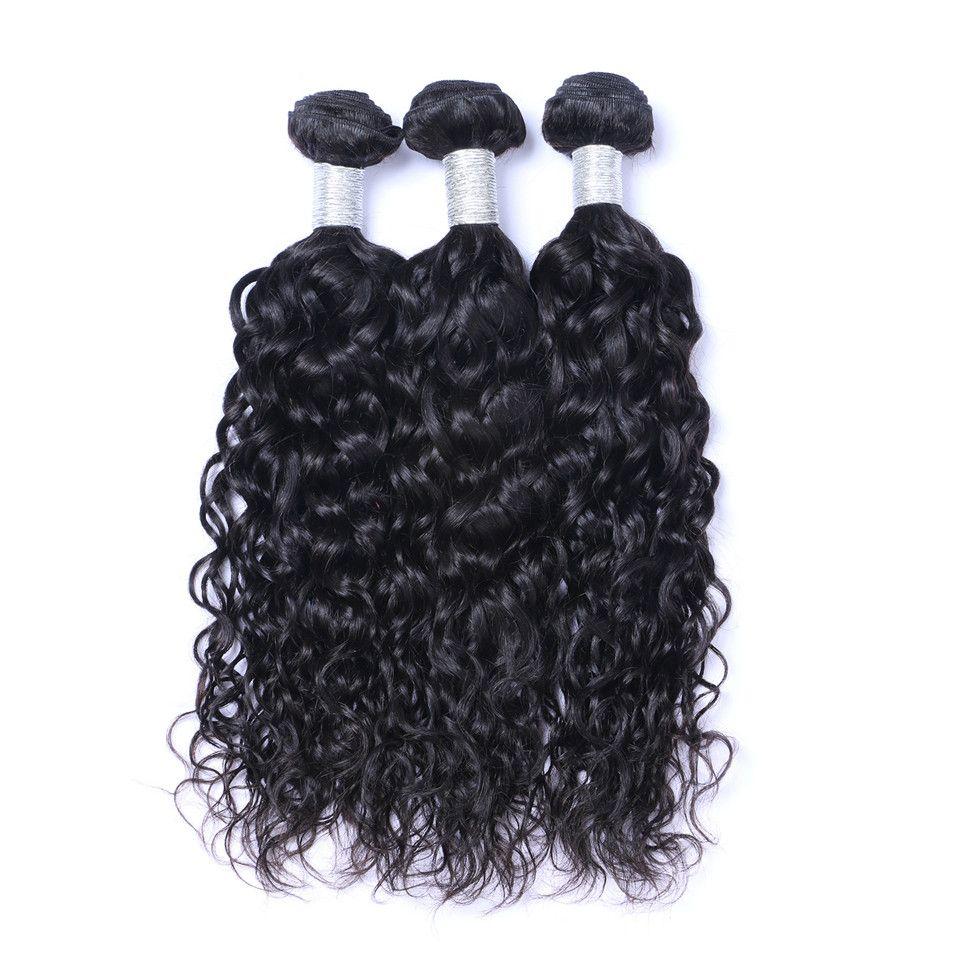 بيرو موجة الطبيعية حزم الشعر مع إغلاق الحرة الأوسط 3 الجزء مزدوج لحمة الإنسان الشعر الملحقات صبغة الشعر البشري