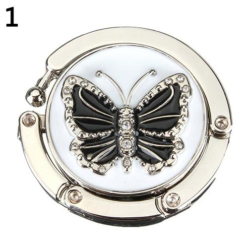 Keep You Fit All The Time silver Helpful Wholesales Item Butterfly Folding Hanger Holder Hook Handbag Bag Rhinestone