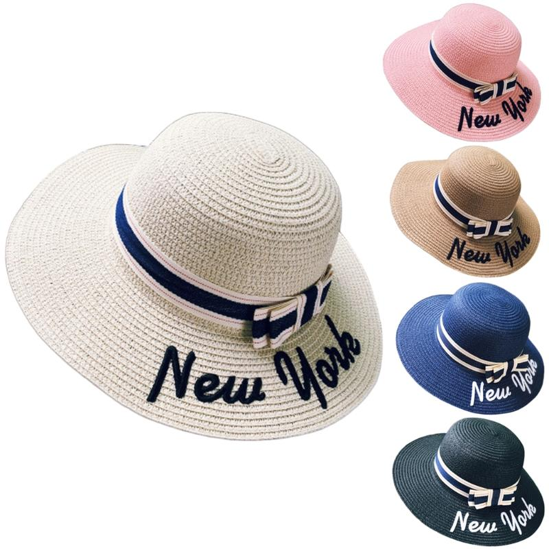 Female Letters Embroidery Straw Sun Hat Large Brimmed Summer Beach Straw  Cap Bowknot Floppy Hats For Men Sun Hats From Hilaryw 74092e13315