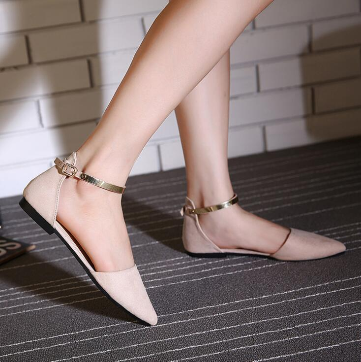 1d08f47d9e8d 2019 Casual Women S Pointed Toe Ballet Flats With Metal Ankle Strap  Moccasins Pink Black Beige Flat Shoes Ladies Buckle Flats Sandals Mens Boots  Moccasins ...