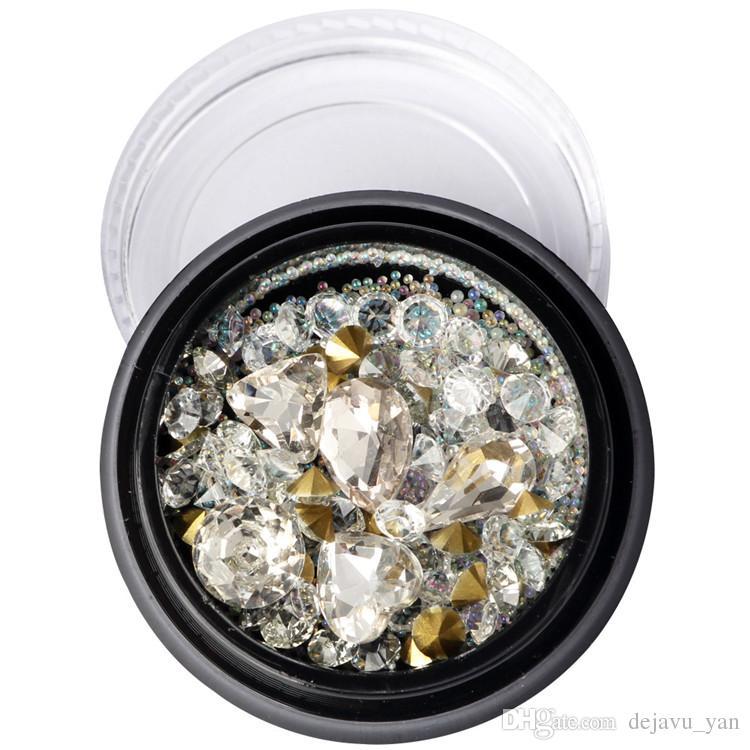 Accesorios de arte de uñas Caja de color negro En forma de punta de clavo Diamante blanco Diamante Elf Bead Glass Beads Mixed