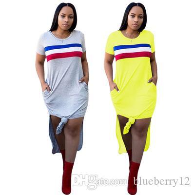 Großhandel Frauen Sommer Kleidung Gelb Grau Langes Kleid Patchwork