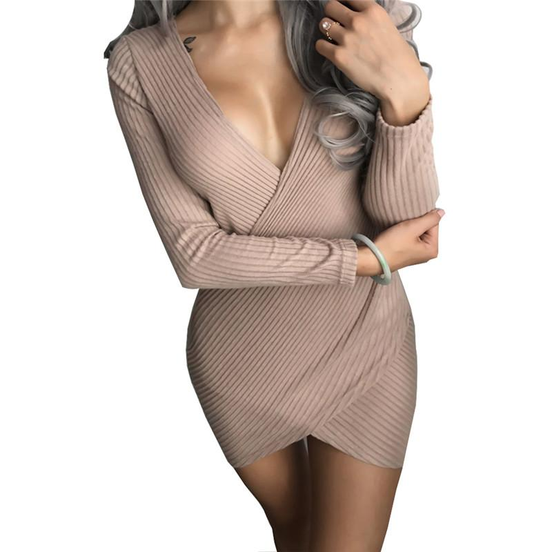 7eeb74bcf17 2019 Sexy Cross V Neck Wrap Knitted Winter Sweater Dress Women 2017 Casual  Long Sleeve Vintage Ladies Bodycon Party Dresses Female From Kepiwell8