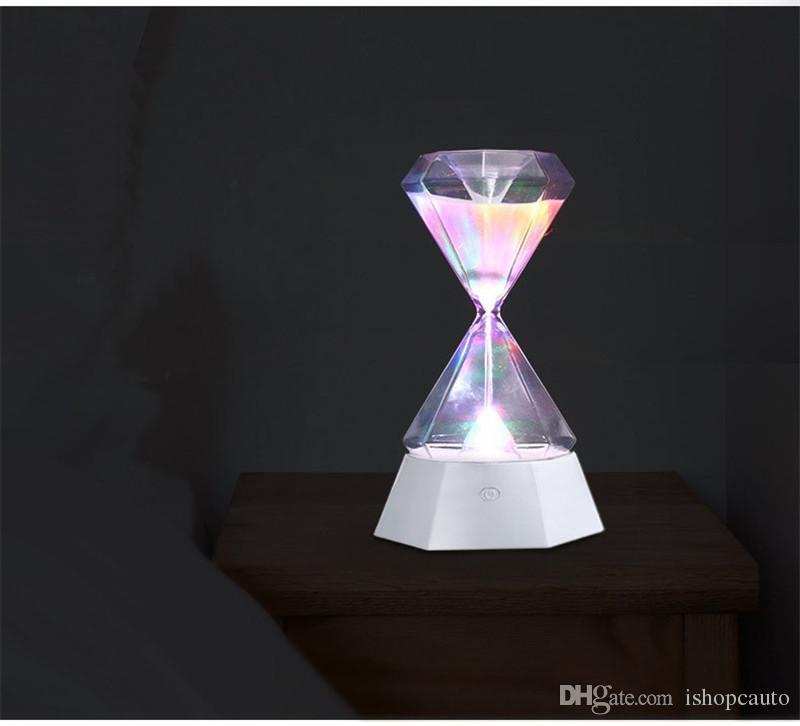 sonbahar uykuda hediyeler için ev dekorasyon saat kum saati indüksiyon led gece ışığı uzun ömür renkli zaman yöneticisi masa lambası