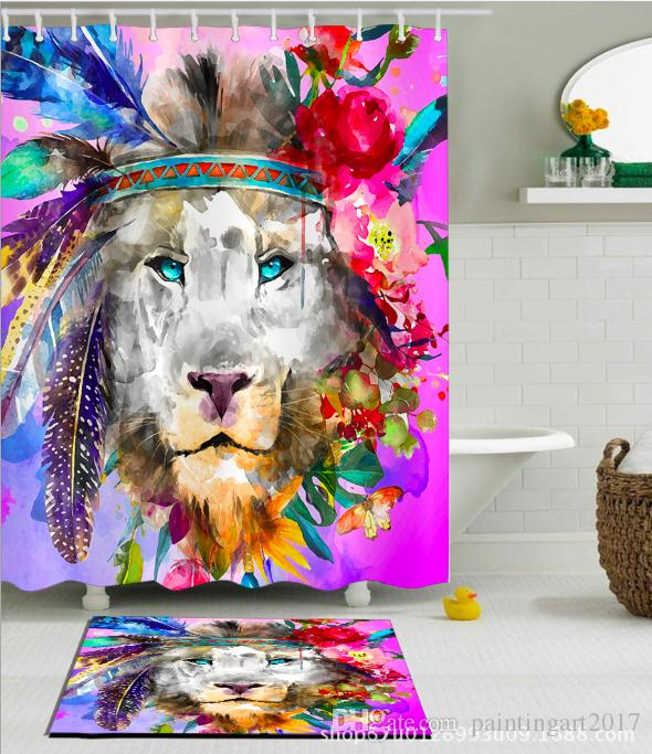 2019 Lion Shower Curtain Fabric 2018 Drop Shipping Woodland Animal Colorful Curtains In The Bath Set Mat From Paintingart2017