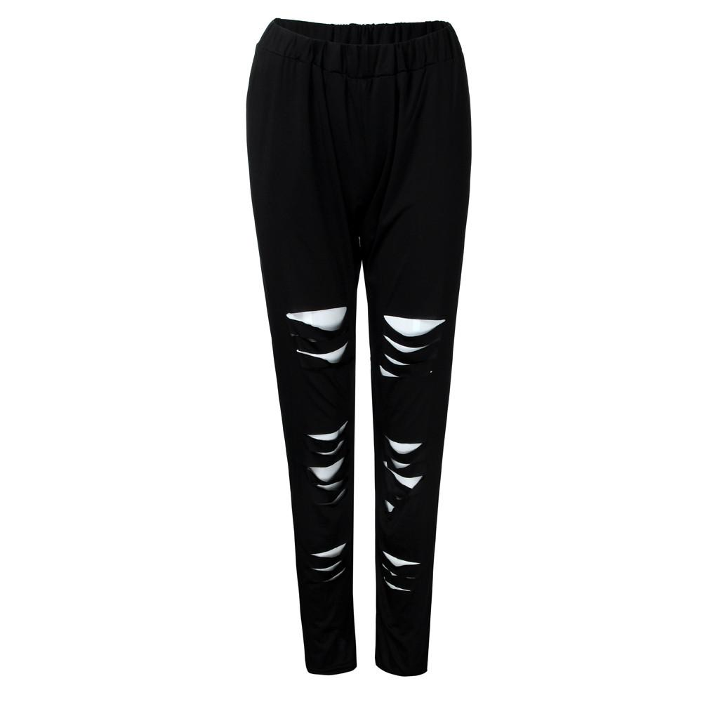 2018 New Fashion yoga pants Polyester Elastic Waist Plus Size Sexy Leggings Trousers Yoga Sport Hole Casual Pants Womens