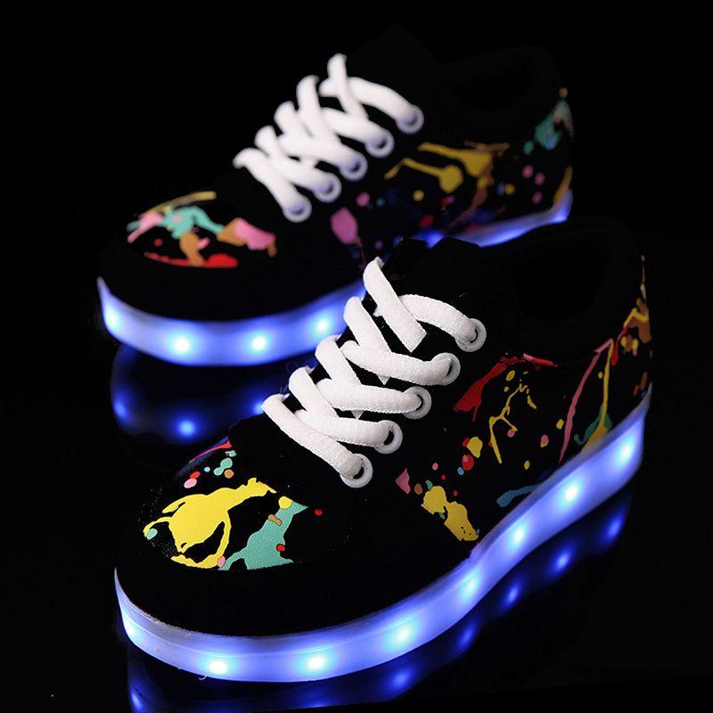 arrives 3c024 b0490 usb led schuhe kinder leuchtende schuhe turnschuhe mit kinder leuchten  leuchtende glühende schuhe für mädchen hausschuhe lichter schoenen