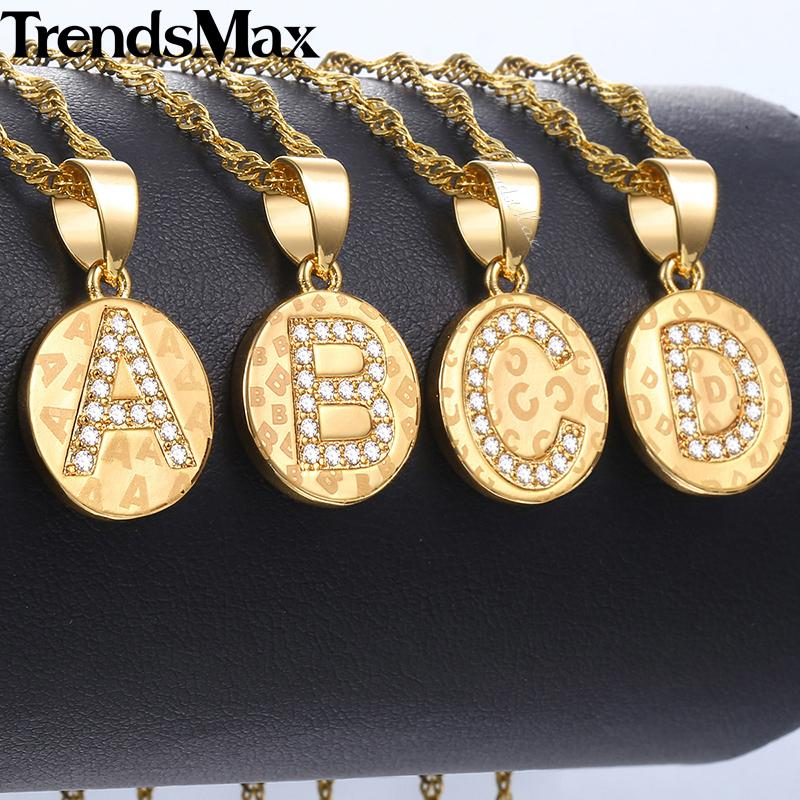 NEW Round CZ Iced Out Initial Letter Pendant For Women Gold A S Letter  Pendant Necklaces Dropshipping Woman Jewelry 2018 Gift KGPM23