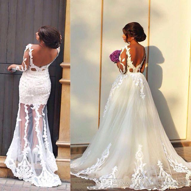 2018 Sheer Long Sleeves Dubai Arab A Line Wedding Dresses Applique Lace Tulle Backless Overskirts Bridal Gowns With Detachale Train