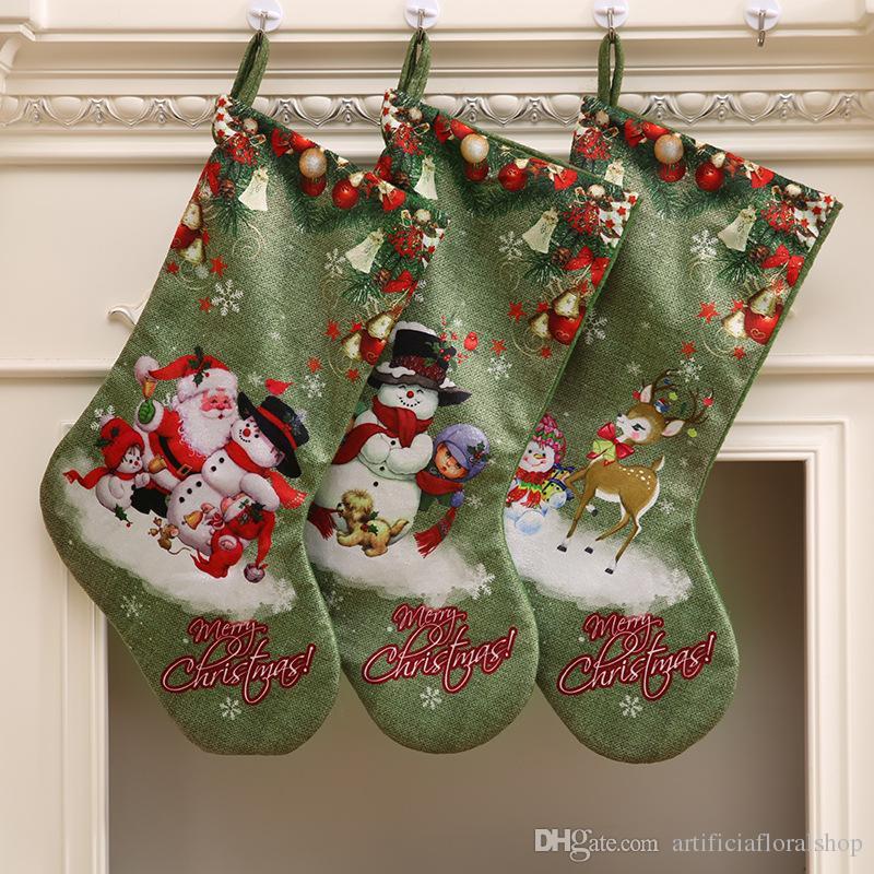 green christmas big socking gift bag christmas decorations large print christmas socks gift candy xmas tree decor party home decorations christmas ornament - Big Christmas Gifts