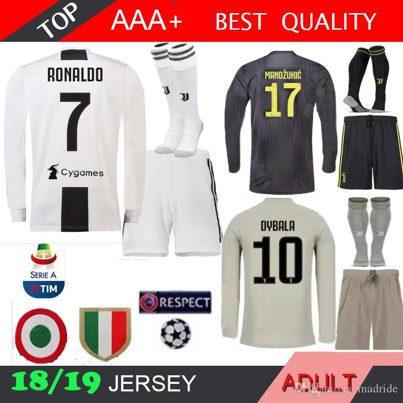 56b6cabc406 2019 Ronaldo LONG JUVE Soccer Jersey Adult Kit SOCK 2018 HOME 18 19 DYBALA  D.COSTA MANDZUKIC MATUIDI Men 3rd 2019 Football Shirt Jerseys From Madride