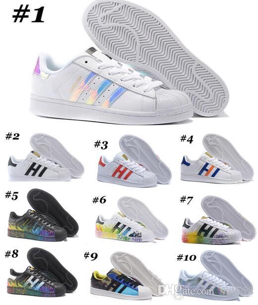 official photos d26d2 9ebcc 69 Colors 2017 Cheap Wholesale Superstar White Hologram Iridescent Junior  Superstars Sneakers Super Star Women Men Sport Running Shoes 36-45