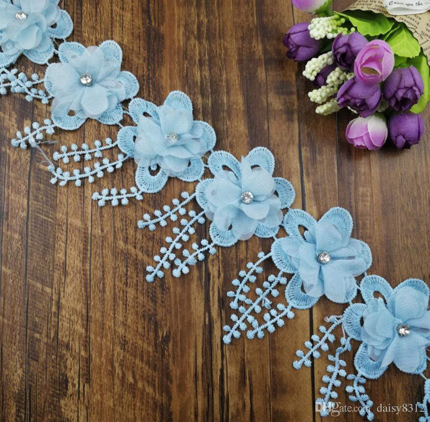 15 Yard Strass Perlen Blume Quaste Chiffion Spitze Stoff Trim Band Für Bekleidung Nähen DIY Puppe Kappe Haarspange
