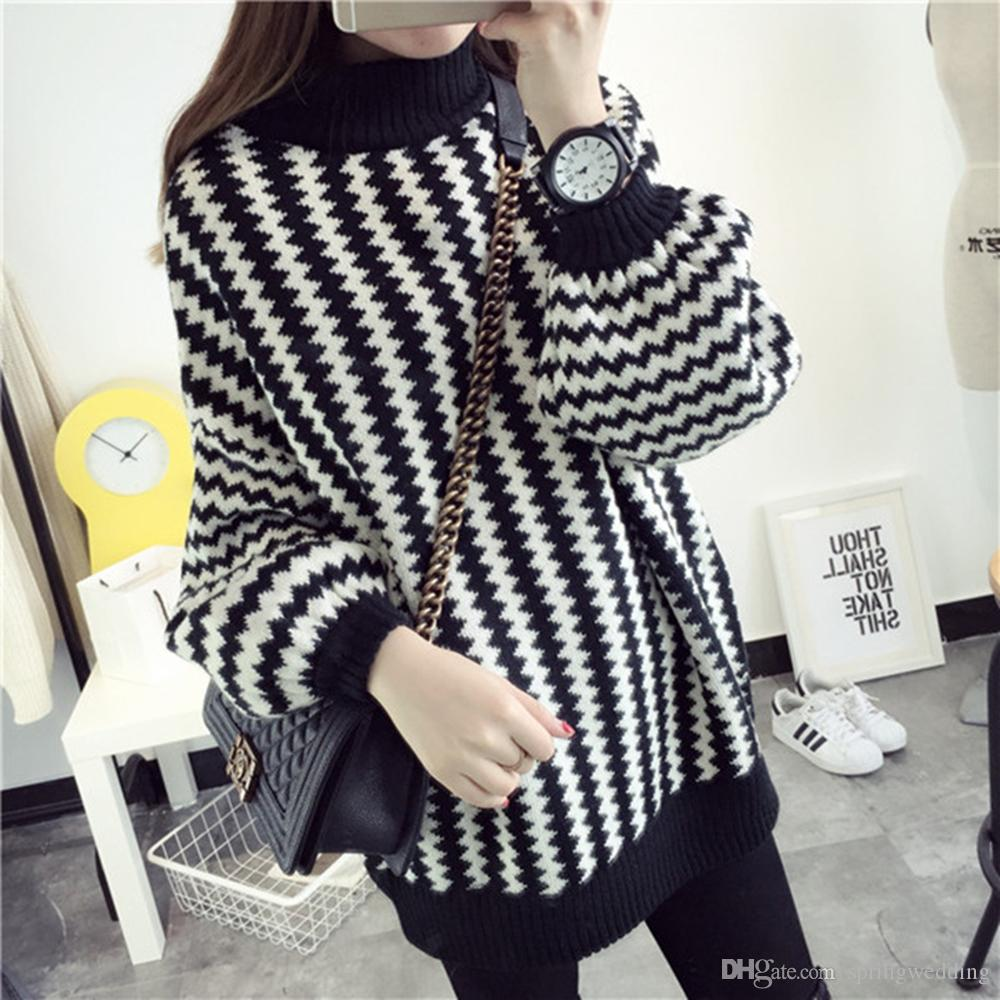 2019 Women Korean Autumn Winter Sweater Long Lantern Sleeve Pullovers  Knitted Black And White Striped Sweater Female Jumper Tops FS5690 From  Springwedding 64eac8cc3