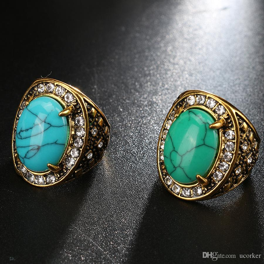 2018 Top Trendy Women Fashion Turquoise Green Stone Gold Plated Rings Lady Gift Rings Jewelry Bulk