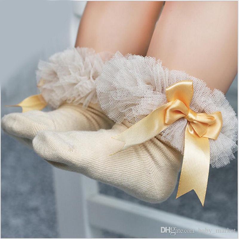 5paiys / 2-6Y Kids Tutu Calcetines Short Baby Girls Sock Princess Silk Ribbon Bowknot Lace sock Ruffle Cotton Tobillo Calcetines Accesorios de fotografía