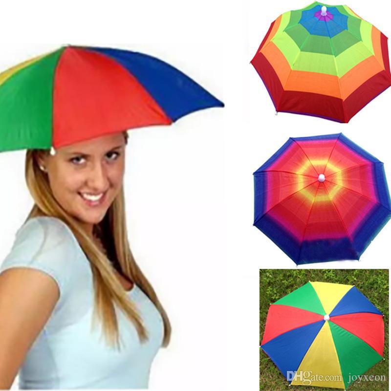 Compre es Plegable Sun Rainbow Paraguas Sombrero Para Niños Adultos  Ajustable Diadema Sombrero Paraguas Senderismo Pesca Kit Al Aire Libre ZJ  U01 A  1.02 ... 0ea660d894e
