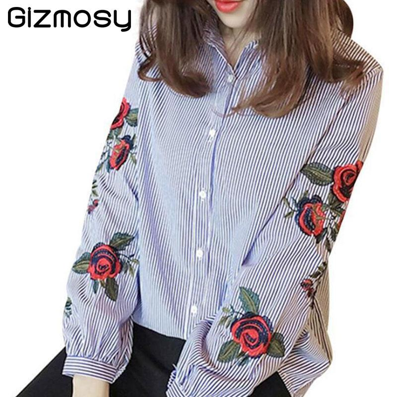 f45d997d68101 2019 Rose Floral Embroidery Striped Blouse Women Long Sleeve Shirt Casual  Cotton Blusa Plus Size Kimono Tops Office Wear Lady BN2686 From  Hongkonglady