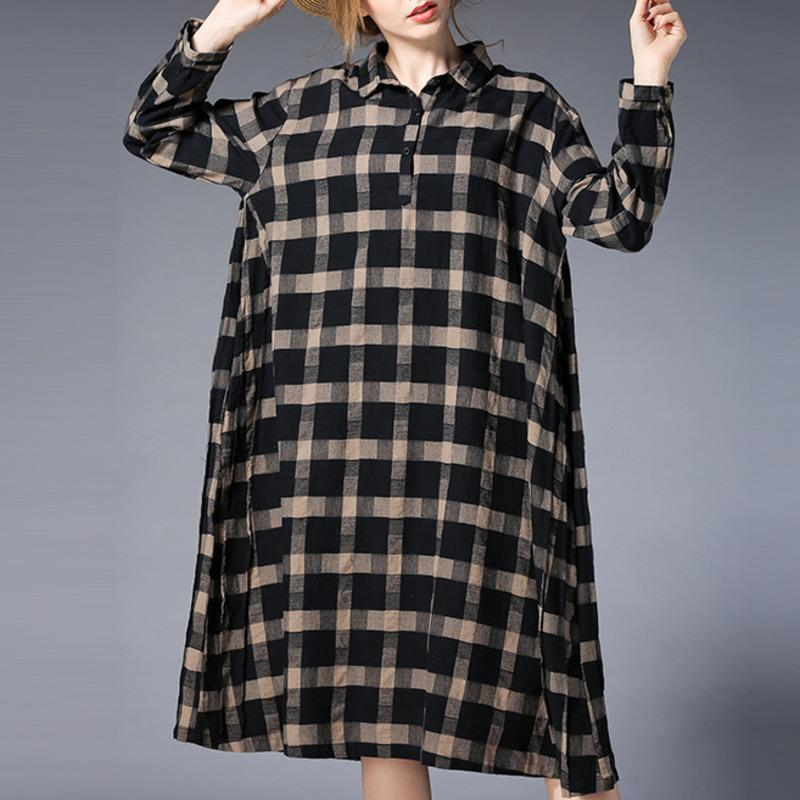 LANMREM 2018 New Plus Size Full Sleeve Fashion Loose Plaid Dress ...