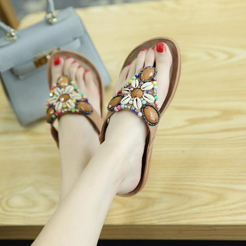1c259e7af74e Women Sandals 2018 Fashion String Bead Slippers Women Shoes Ethnic Style  Beach Summer Shoes Outdoor Slippers Femme Woman Pink Shoes Salt Water  Sandals From ...