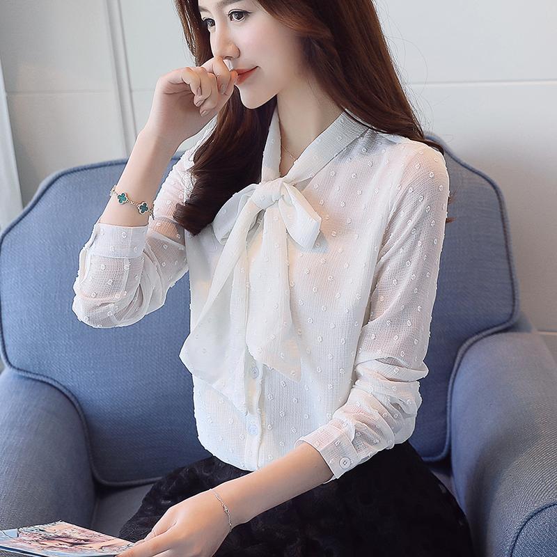 2017 otoño de manga larga con cuello en V pajarita camisas de gasa mujeres trabajo de oficina OL rosa blusas de gasa mujeres dot camisas punto gasa top