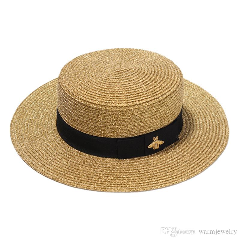 aa652113e02 European And American Retro Gold Woven Straw Hat Women Sunshade Flat Top Hat  Sunscreen Travel Folding Straw Hat Bucket Hats For Men Womens Hats From ...