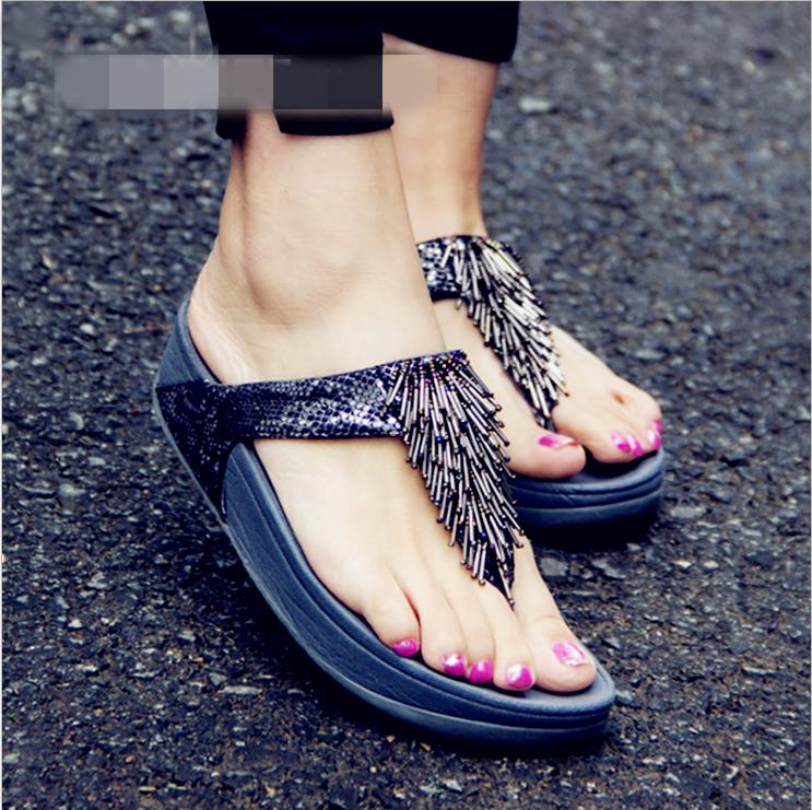 640fd7375e8c Flip Flops Women S Shoes 2018 Summer New Sweet Soft Bottom Pregnant Woman  Beauty Dew Wedges Feet Cool Slippers Flower Platform Sandals For Women Knee  High ...